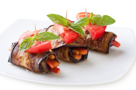 Eggplant rolls stuffed with pepper photo