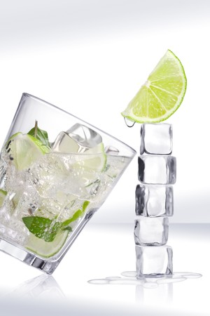 cool mint: Ice cubes and glass on a white background and with soft shadow.