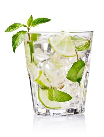 mojito: cold fresh lemonade. Isolated on white background