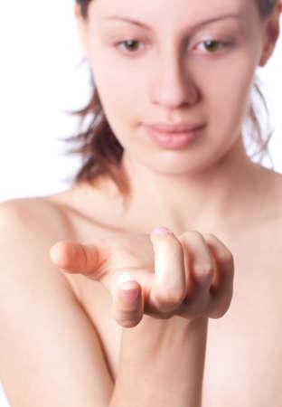 Cream on the women hand. Stock Photo - 8038347