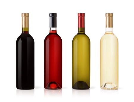 white wine bottle: Set of white, rose, and red wine bottles. isolated on white background Stock Photo