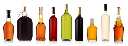 green glass bottle: Set of wine and brandy bottles. isolated on white background Stock Photo