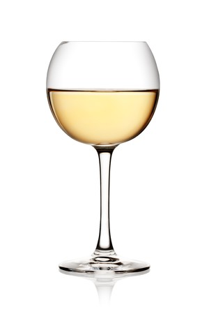 aligote: Glass of white wine on a white background and with soft shadow.