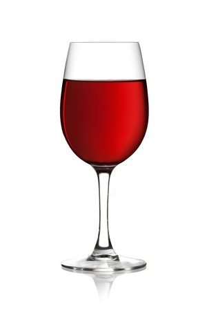 syrah: Glass of red wine on a white background and with soft shadow.