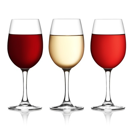 wine background: Glass of red, pink and white wine on a white background and with soft shadow.