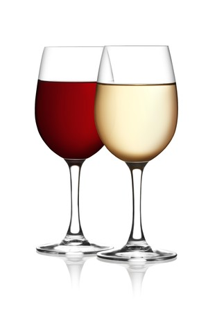 white wine glass: Glass of red and white wine on a white background and with soft shadow. Stock Photo