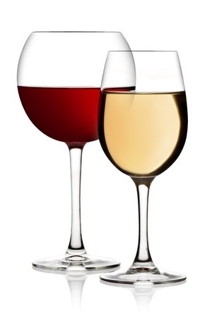 white wine glass: Glass of red and white wine on a white background and with soft shadow. The file includes a clipping path.
