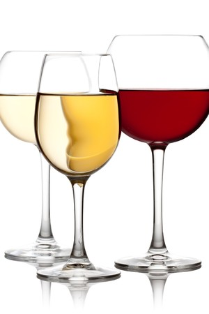 sauvignon blanc: Glass of red and white wine on a white background and with soft shadow. Stock Photo