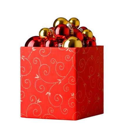 group of christmas baubles: christmas present. Gift box and christmas baubles  on a white background Stock Photo