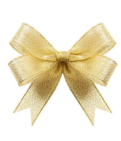 Golden gift bow. Ribbon. Isolated on white Stock Photo - 8356528