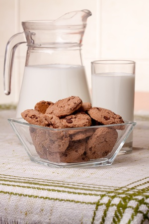 milk and cookies: glass of milk and chocolate chip cookies