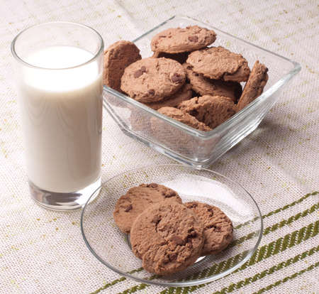 glass of milk and chocolate chip cookies photo