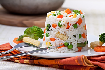 boiled: Rice with vegetables