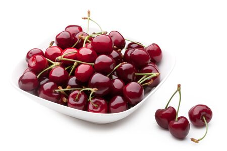 cherries isolated: Bowl of Cherries on white background Stock Photo