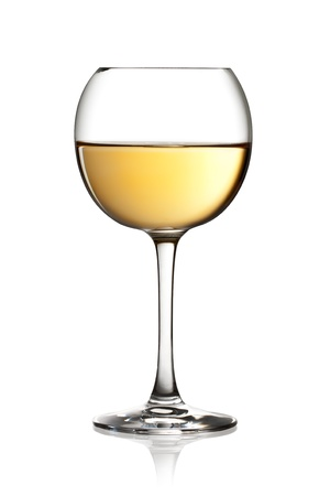 sauvignon blanc: Glass of white wine on a white background and with soft shadow. The file includes a clipping path.