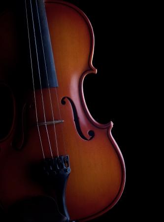 musical instrument parts: Violin on black background