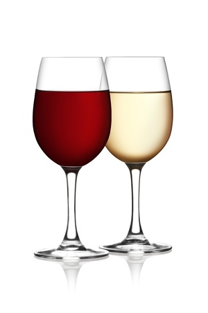 aligote: Glass of red and white wine on a white background and with soft shadow.