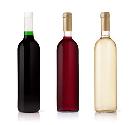 white wine bottle: Conjunto de botellas de vino blancos, rosas y rojos. aislados sobre fondo blanco