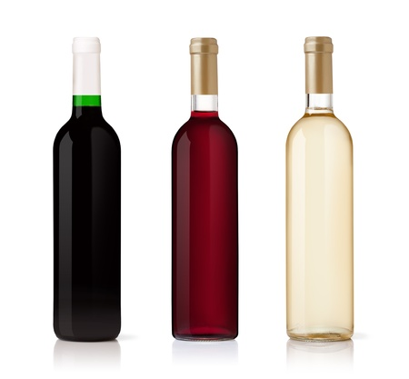 wine bottle: Set of white, rose, and red wine bottles. isolated on white background Stock Photo