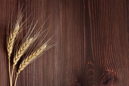 Wheat stems, on wooden background photo