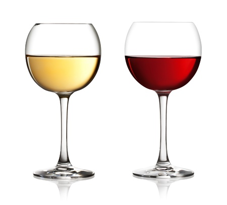 aligote: Glass of red and white wine on a white background and with soft shadow. The file includes a clipping path.