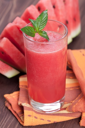 glass of watermelon smoothie photo