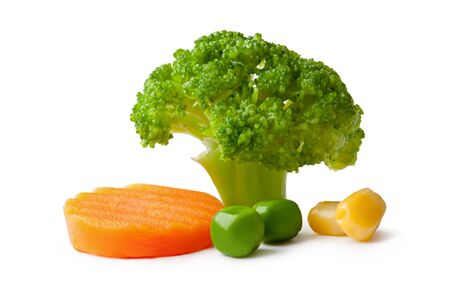 broccolli: broccoli, peas, carrot and maize on a White background