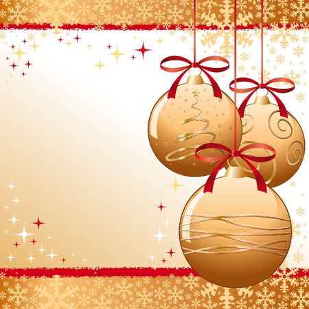 modern christmas baubles: A gold xmas balls  greeting card.  Illustration