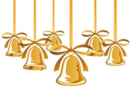 campanas de navidad: Campanas de Navidad de oro con el arco rojo
