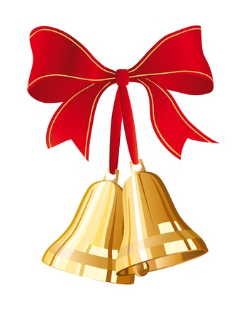 jingle bells: golden christmas bells with red bow Illustration