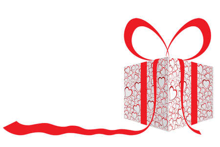 red gift box: present box.  Illustration