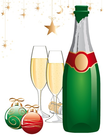 champagne glasses: champagne glasses and bottle. Illustration