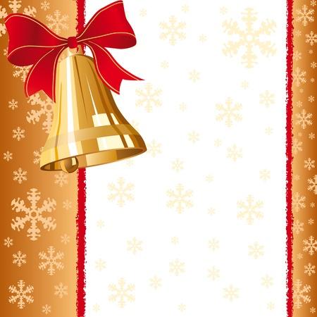 jingle bells: A golden christmas bells greeting card.