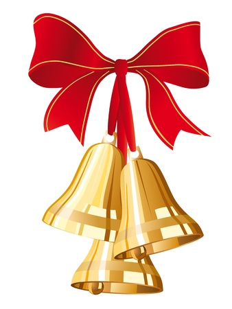 jingle bells: three golden christmas bells with red bow