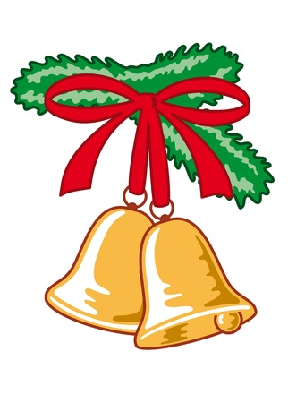 golden christmas bells with red bow Vector