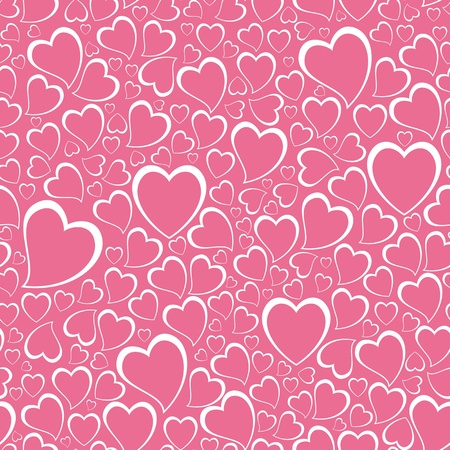 Repeating background with hand drawn child like hearts. Vector