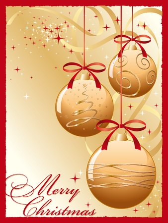 three golden christmas bells with red bow Vector