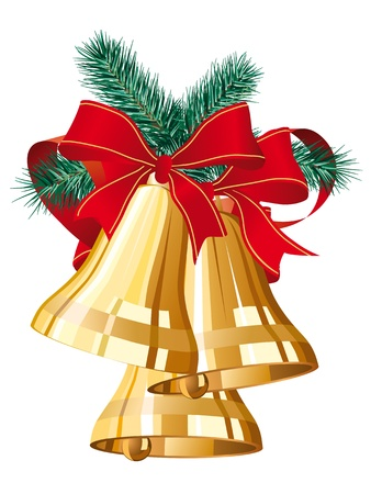 handbell: three golden christmas bells with red bow