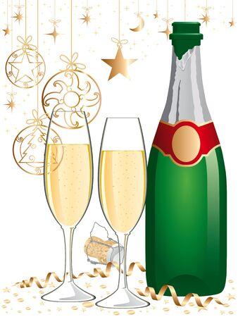 champagne bottle.  Vector