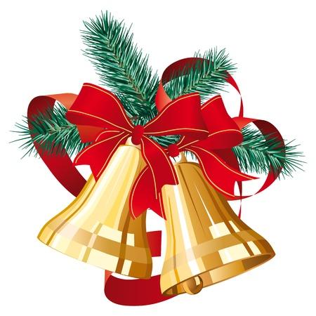 campanas de navidad: Dos campanas de Navidad dorado con lazo rojo