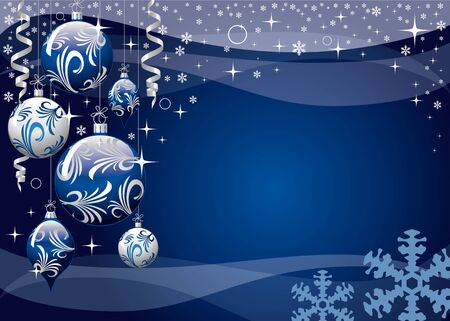 silver christmas: blue xmas greeting card