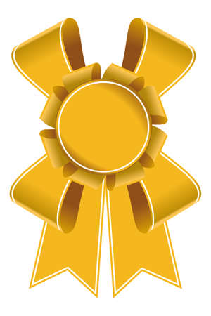 badge with ribbon: Yellow bages and ribbons.