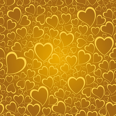 golden heart: Repeating background with hand drawn child like hearts. Illustration