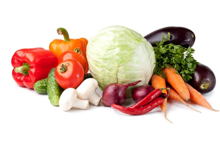 Fresh vegetable (cabbage, cucumber, bell pepper, onion, garlic, eggplant, carrot, tomato, mushroom, parsley) photo