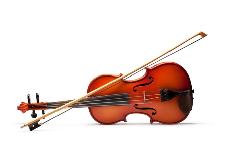 stringed: Violin and bow on white background Stock Photo