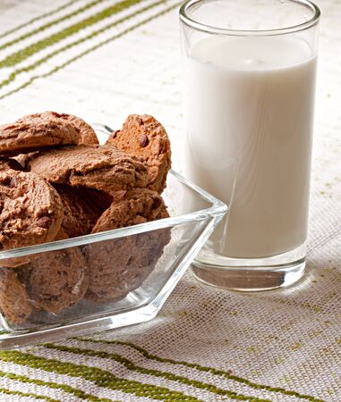 pasteurized: glass of milk and chocolate chip cookies
