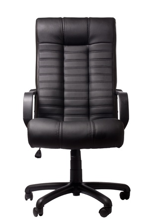 wheel chair: black executive leather chair on a white background