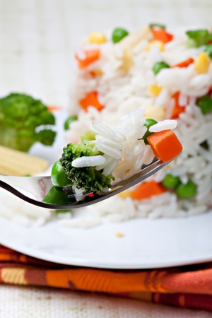 the corn salad: Rice with vegetables