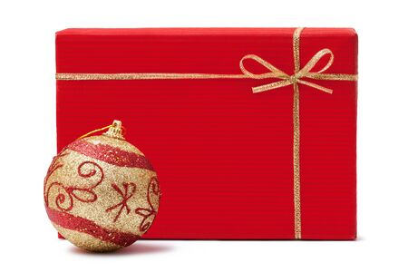 gift box and xmas ball on a white background photo