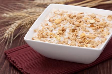 oatmeal: Bol de cereales muesli, de cerca Foto de archivo